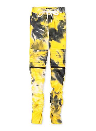 Girls 7-16 Tie Dye Hyperstretch Moto Pants,MUSTARD,large