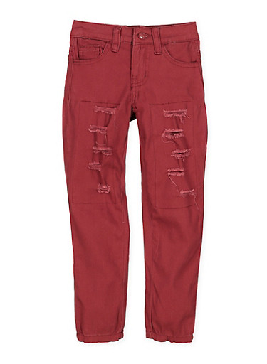 Girls 7-16 Patch and Repair Twill Pants,WINE,large