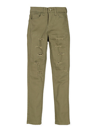 Girls 7-16 Twill Patch and Repair Pants,OLIVE,large
