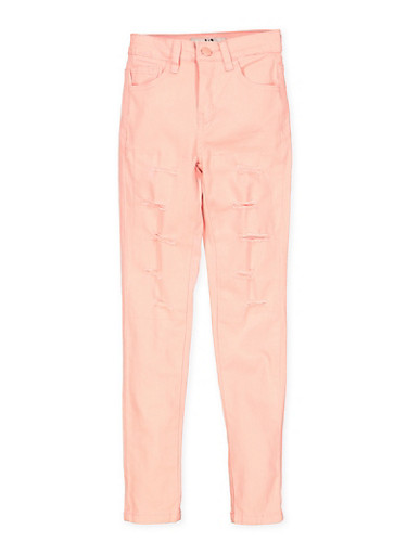Girls 7-16 Patch and Repair Twill Pants,BLUSH,large