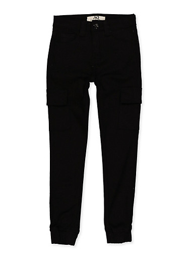 Girls 7-16 Twill Cargo Joggers | Black,BLACK,large