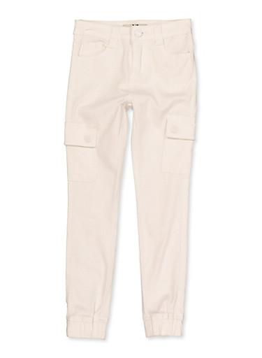 Girls 7-16 Twill Cargo Joggers | White,WHITE,large