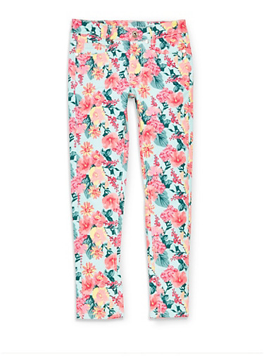 Girls 7-16 Floral Jeans,TURQUOISE,large