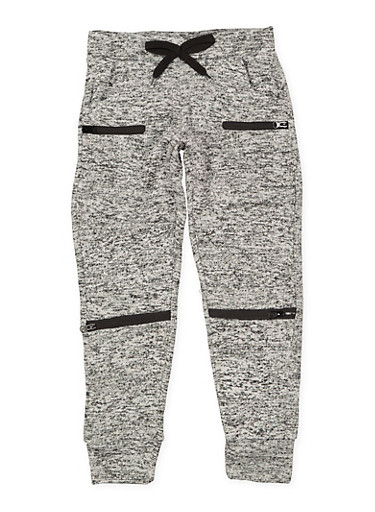 Girls 7-16 Marled Moto Joggers,GRAY,large