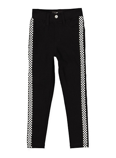 Girls 7-16 Checkered Tape Hyperstretch Jeggings | Black,BLACK,large