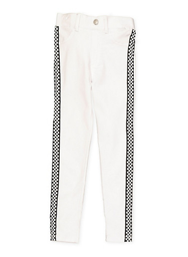 Girls 7-16 Checkered Tape Hyperstretch Jeggings | White,WHITE,large