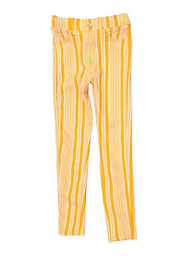 Girls 7-16 Striped Hyperstretch Jeggings,MUSTARD,large