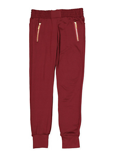 Girls 7-16 Soft Knit Zip Pocket Joggers | Burgundy,WINE,large