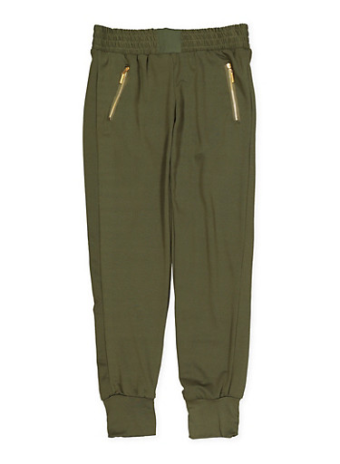 Girls 7-16 Soft Knit Zip Pocket Joggers | Olive,OLIVE,large