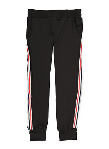 Girls 7-16 Shimmer Side Stripe Joggers,BLACK,large