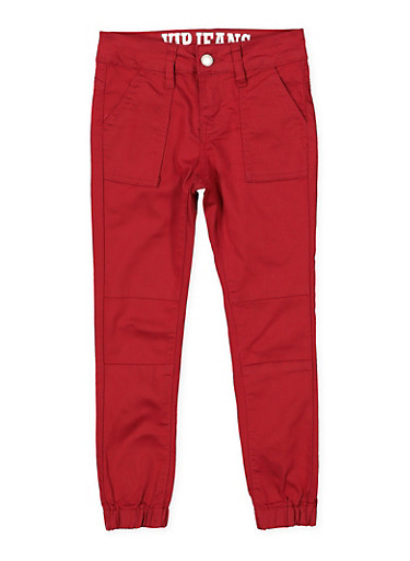 Girls 7-16 Pork Chop Pocket Twill Joggers | Burgundy,WINE,large