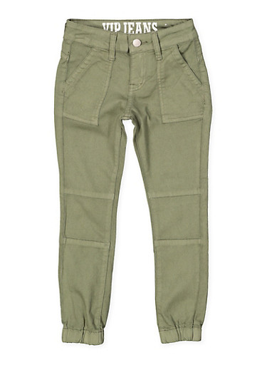 Girls 7-16 Pork Chop Pocket Twill Joggers | Olive,OLIVE,large