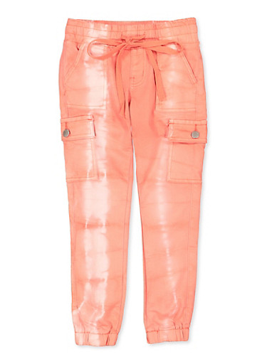 Girls VIP 7-16 Bleached Cargo Denim Joggers | Orange,ORANGE,large