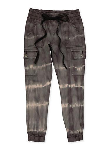 Girls VIP 7-16 Tie Dye Cargo Jeans,BLACK/WHITE,large