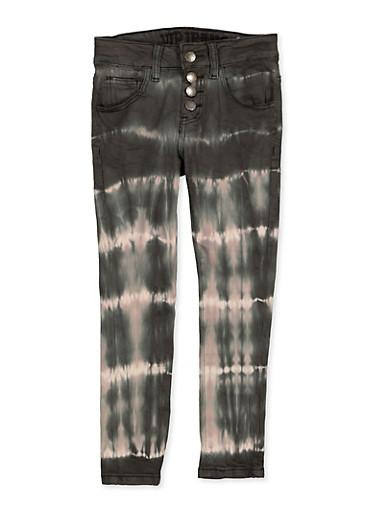 Girls 7-16 VIP 4 Button Tie Dye Jeans,BLACK/WHITE,large
