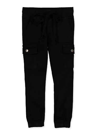 Girls 7-16 Solid Cargo Joggers,BLACK,large