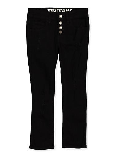 Girls 7-16 Distressed 4 Button Pants | Black,BLACK,large