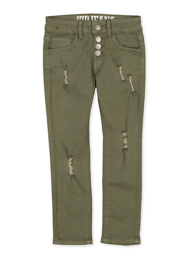 Girls 7-16 Distressed 4 Button Pants | Olive,OLIVE,large