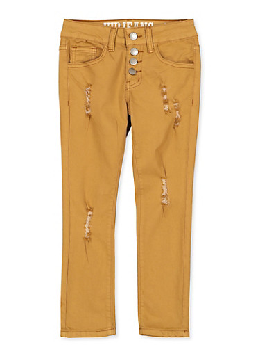 Girls 7-16 Distressed 4 Button Pants,MUSTARD,large