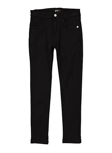 Girls 7-16 Stretch Twill Pants   Black,BLACK,large