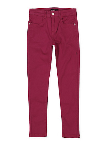 Girls 7-16 Stretch Twill Pants | Burgundy,WINE,large