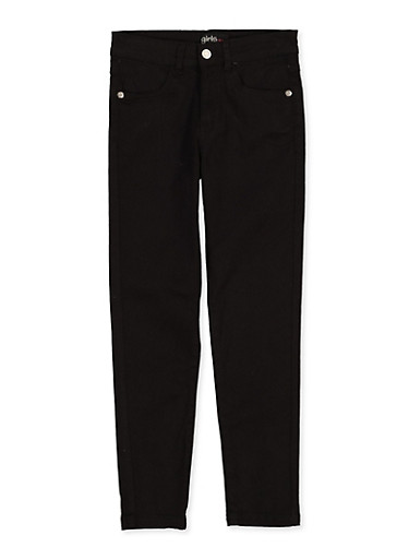 Girls 7-16 Black Stretch Twill Pants,BLACK,large