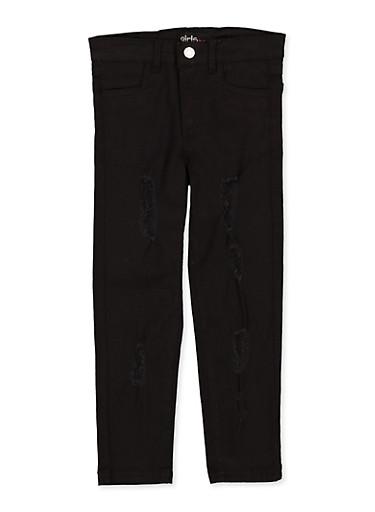 Girls 7-16 Frayed Black Twill Pants,BLACK,large