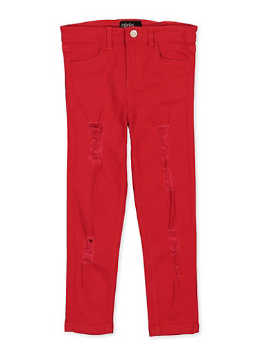 Girls 7-16 Distressed Frayed Twill Pants,RED,large