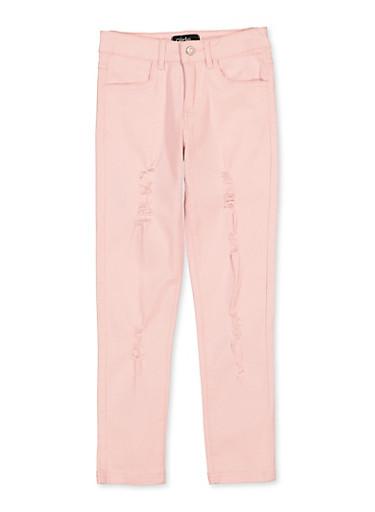 Girls 7-16 Pink Frayed Twill Pants,ROSE,large