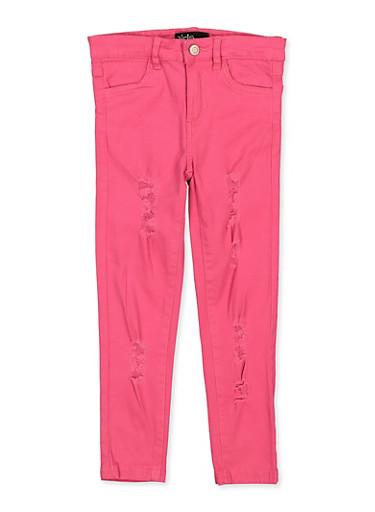 Girls 7-16 Frayed Fuchsia Twill Pants,FUCHSIA,large