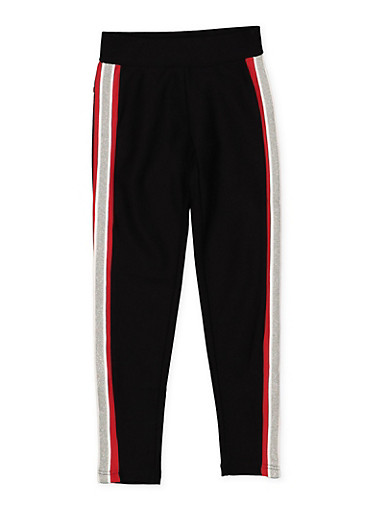 Girls 7-16 Side Stripe Ponte Pants,BLACK,large