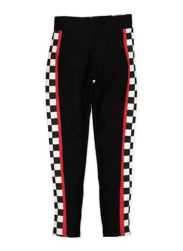 Girls 7-16 Checkered Trim Ponte Pants,BLACK,large