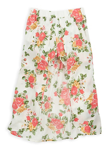 Girls 7-16 Floral Shorts with Maxi Skirt Overlay,IVORY,large