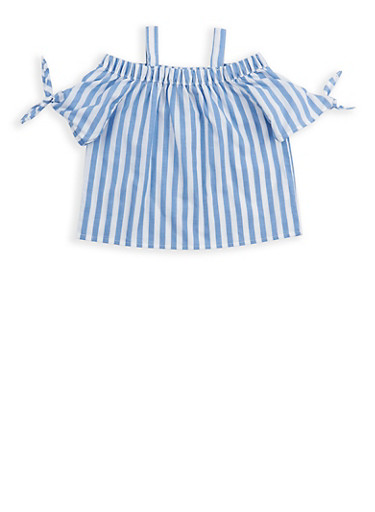 Girls 4-6x Striped Off the Shoulder Top,WHITE/BLUE,large