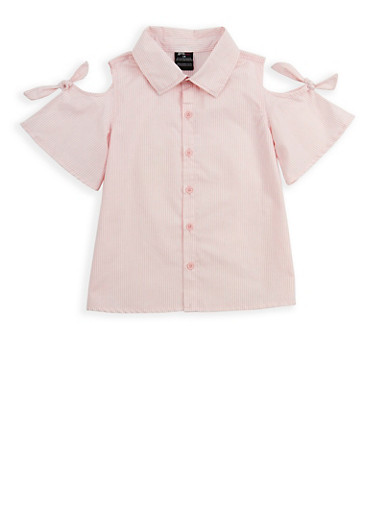 Girls 4-6x Striped Button Front Top,PINK,large