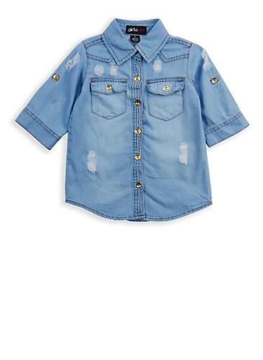 Girls 4-6x Distressed Button Front Denim Shirt,DENIM,large