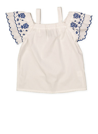 Girls 4-6x Embroidered Sleeve Off the Shoulder Top,WHITE,large