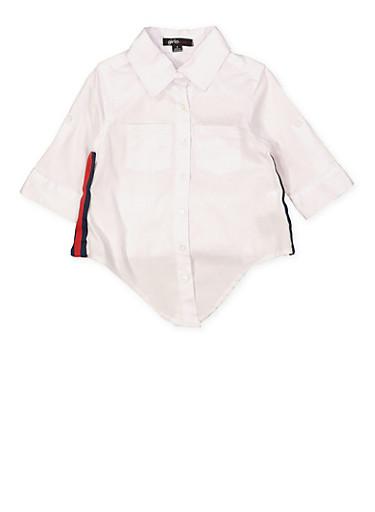 Girls 4-6x Striped Tape Poplin Shirt,WHITE,large