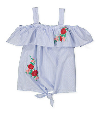 Girls 4-6x Floral Embroidered Striped Top,BLUE,large
