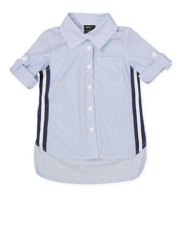 Girls 4-6x Striped Tape Trim Shirt,NAVY,large