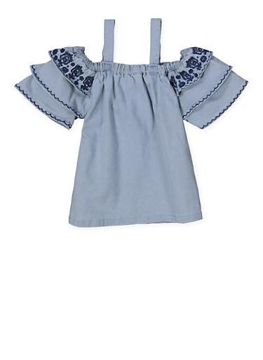Girls 4-6x Embroidered Denim Top,LIGHT WASH,large