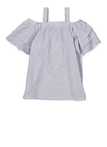 Girls 4-6x Striped Off the Shoulder Top,NAVY,large