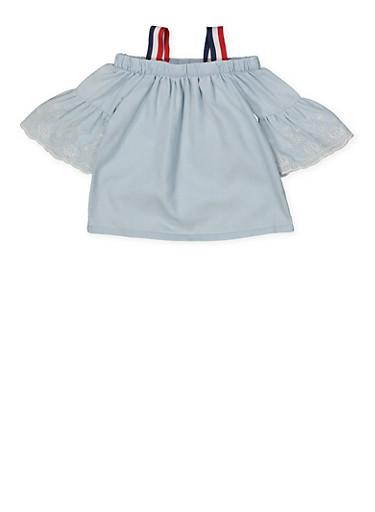 Girls 4-6x Bell Sleeve Off the Shoulder Denim Top,LIGHT WASH,large