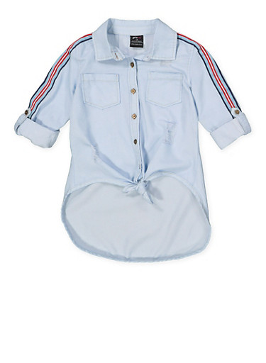 Girls 4-6x Striped Tape Sleeve Tie Front Shirt,LIGHT WASH,large