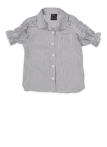 Girls 4-6x Ruffle Sleeve Striped Shirt,NAVY,large