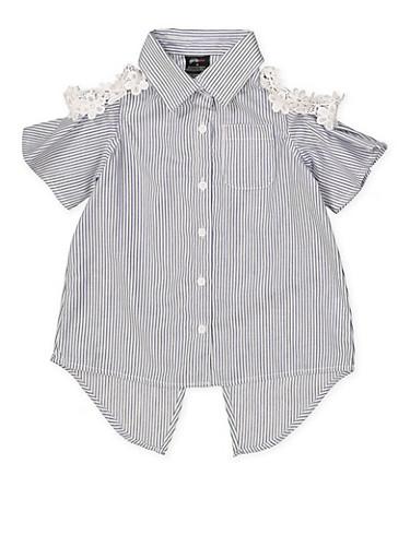 Girls 4-6x Crochet Trim Striped Shirt,NAVY,large