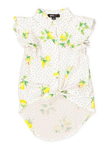 Girls 4-6x Lemon Print Tie Front Shirt,WHITE,large