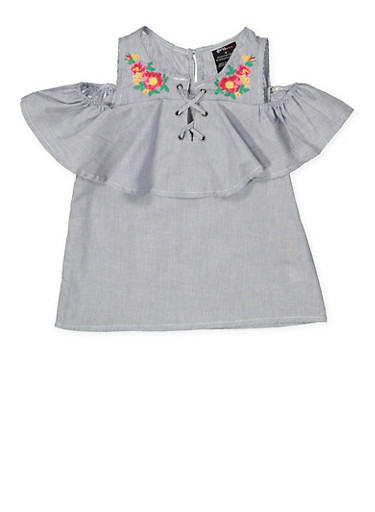 Girls 4-6x Lace Up Embroidered Cold Shoulder Top,NAVY,large