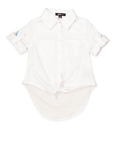 Girls 4-6x Striped Tape Detail Shirt,WHITE,large