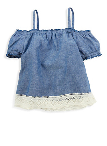 Girls 4-6x Crochet Trim Off the Shoulder Top | Tuggl